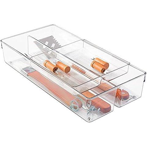 mDesign organizzatore scorrevole accessori barbecue 2 pezzi per articoli da barbecue - Trasparente