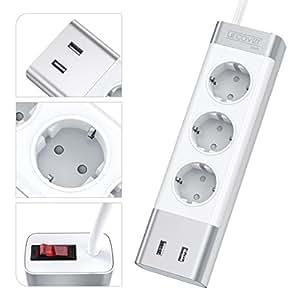 urcover prise electrique multiple usb triple avec protection parafoudre universelle et. Black Bedroom Furniture Sets. Home Design Ideas