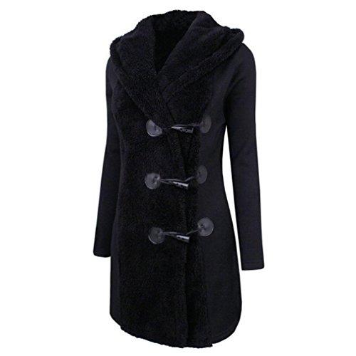 Kleidung Mäntel Damen Sunday Mode Warme Winter Plus Dicke Warme Solide Knöpfe Parka Lange Hoodie Outwear (Schwarz, 2XL)