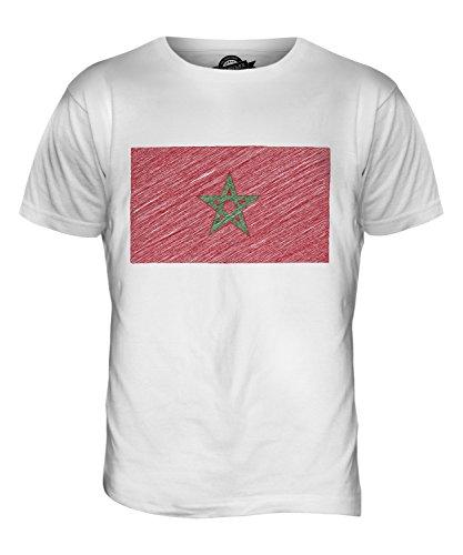 CandyMix Marocco Bandiera Scarabocchio T-Shirt da Uomo Maglietta Bianco