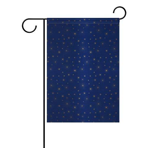 DEZIRO Weihnachtsflagge mit goldenen glitzernden Sternen, Polyester, 1, 12x18(in)