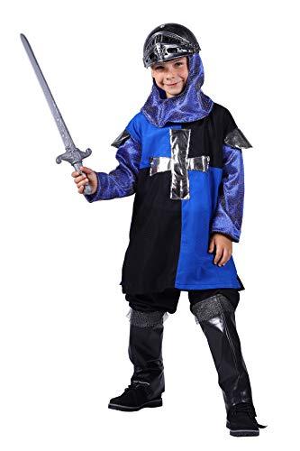 Ritter Kostüm Kinder Kreuzritter Komplett (ohne Schwert) Rollenspiel Cosplay Mittelalter-Tracht Karneval Fasching Hochertiges Kostüm Größe 98/104 Schwarz/Blau (Schwarzer Ritter Kostüm Kinder)