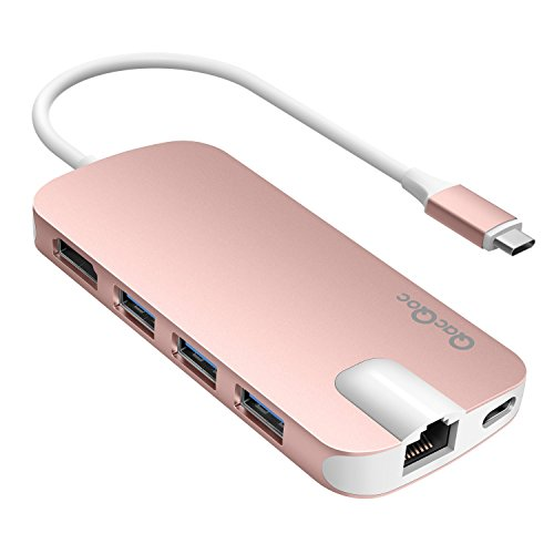 USB C Hub QacQoc USB C Adapter mit Typ C Ladeanschluss, HDMI Port, Gigabit LAN, SD-Kartenleser, Micro SD-Kartenleser, 3 USB 3.0 Ports für Typ C Geräte wie MacBook, MacBook Pro, Google Chromebook (Rosa)
