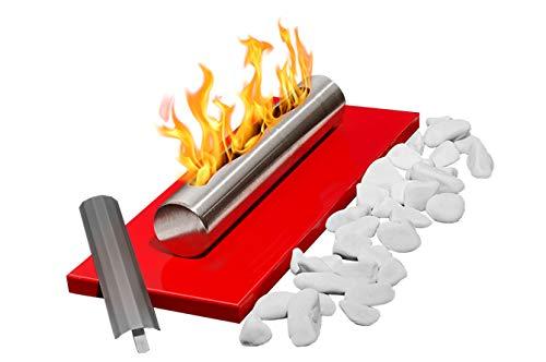 Bio-Ethanol-Kamin Eco Tischplatte ROT Bio-Kamin Heizung Brenner Feuer Tisch Tragbare + Dekorative Steine + 1 Liter BIO-Kraftstoff