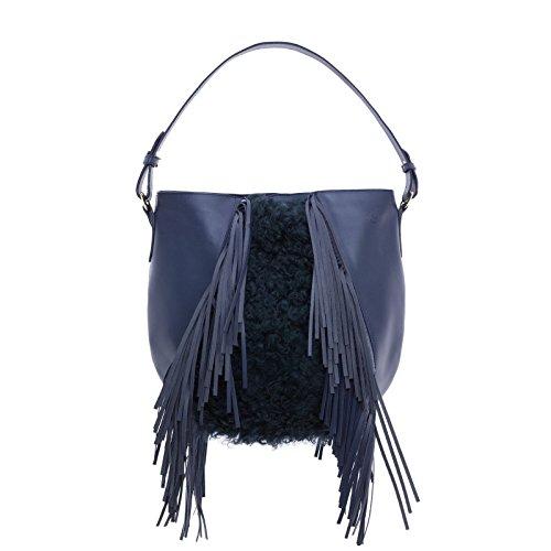 Hobo Schultertasche mit Fransen in Rindleder Blau und Haar-Merino taubenblau (Hobo Blue Handtaschen)