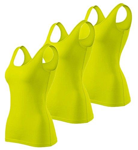 Dress-O-Mat 3er Pack Damen Tanktop Top T-Shirt Tailliert zitronen grün