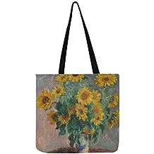 Monet Bouquet of Sunflowers Jarrón sobre mesa bolso de lona bolso bandolera bolsos para hombres y