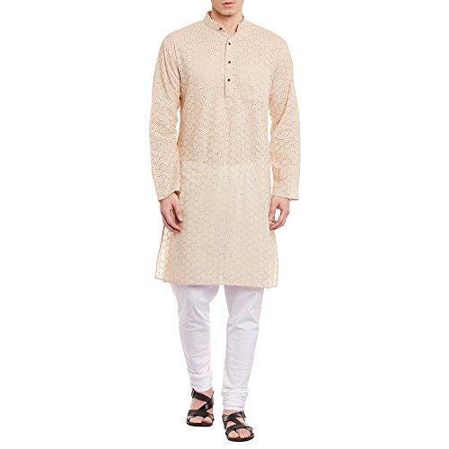 ShalinIndia Herren Bestickt Cutwork Kurta mit Churidar Pyjama Hose Maschine Baumwollstickerei, Brust 48 Zoll, XL, Beige -