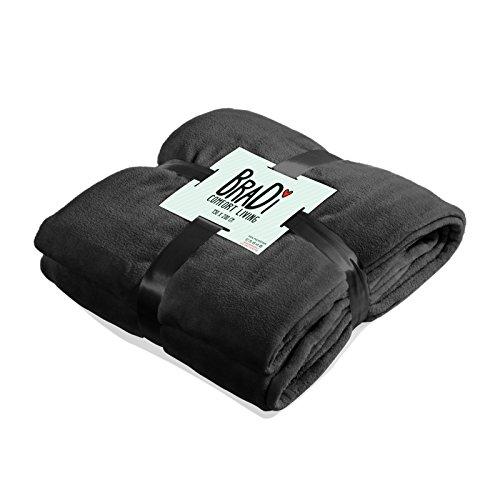 Kuscheldecke Mikrofaser Wohndecke Tagesdecke für Bett & Sofa (schwarz) BraDi XXL (Mikrofaser-sofa-bett Schwarze)