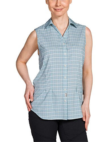 Jack Wolfskin Damen Bluse Tongari Shirt W, Aquatic Blue Checks, S, 1401701-7586002 (Check-polo-t-shirt)