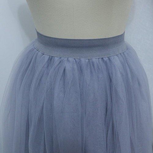 Sunzeus Damen Lange Röcke 3 Schichten Tüllrock hohe Taille Prinzessin Partykleid Grau