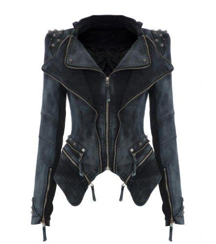 NEU Punk Revers PU Leder Smoking Mantel Blazer Nieten Damen Jacke Biker Studs Spike Schulterpolster Jacket (XL, Grau)