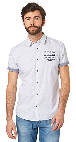 Tom Tailor für Männer Shirt / Blouse Kurzarm-Hemd mit dezenten Streifen White