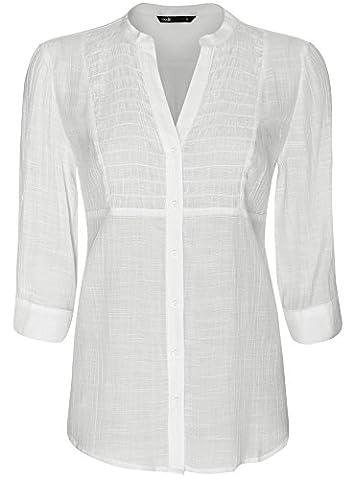 oodji Collection Damen Tunika mit V-Ausschnitt, Weiß, DE 44 / EU 46 / XXL