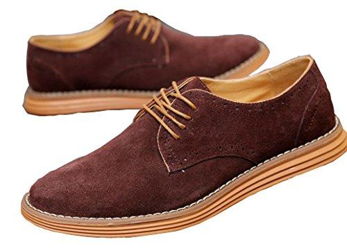 Anlarach Vêtements pour hommes occasionnels Swede Leather Brogue Oxford Chaussures Marron Foncé