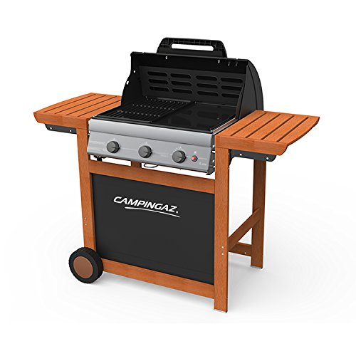 Campingaz Gasgrill Adelaide 3 Woody L mit 14000 W bei 1030 g/h Verbrauch Grillfläche 2800 cm², 2 Rollen, 3 Brenner, schwarz/braun, 128x59x114 cm, 3000005457