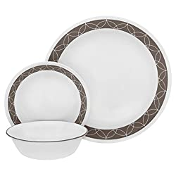 Corelle 18 Piece Sand Sketch Livingware Dinnerware Set, White