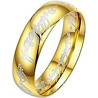 Aivtalk Hombres de las mujeres anillo de el Señor de los anillos par joyería acero inoxidable anillos de boda