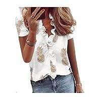 DUe Womens Pinapple Printed Short-Sleeve Flounced Blouse Slim Fit Tees Top AS1 L