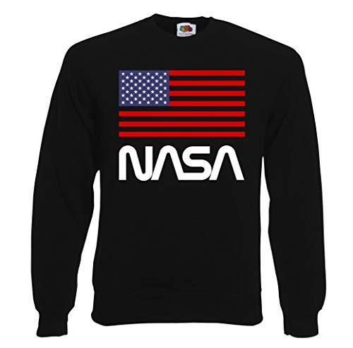 TRVPPY Herren Sweater Pullover Modell NASA USA, Schwarz, XL