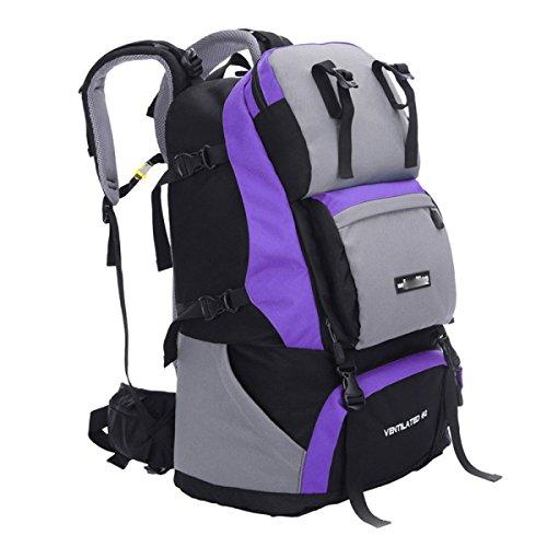 60L Umhängetasche Bergsteigen Rucksack Outdoor Rucksack Sporttasche,SapphireBlue Purple