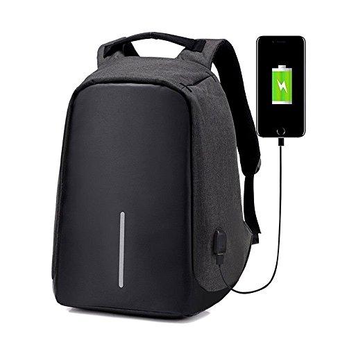 moyun Zaino Porta PC Impermeabile Zaini Shultasche Multi Funzione Scuola Borsa Zaino Laptop 15daypack antifurto con cavo di ricarica USB in 2 colori, nero