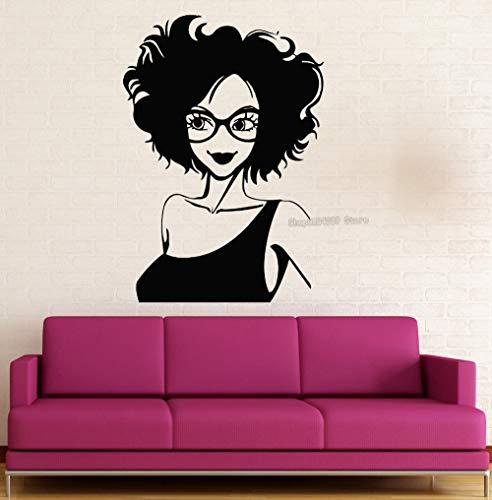 Vinyl Wandaufkleber Vinyl Aufkleber Positive Junge Sexy Mädchen Brille Kleid Schöne Wohnkultur Wohnzimmer Schlafzimmer Kunst Wandbilder 42X60CM