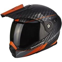 Scorpion Moto Casco adx1Dual, negro/naranja, tamaño XS