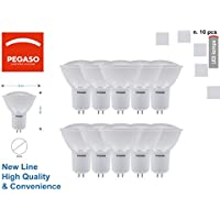 Set de 10Bombillas Spotlight GU5.3LED Pegaso, 6W, GU10, Ø54X 62-3000K, Luz Cálida, 540lm, equivalente a 40W, Haz de luz 160°