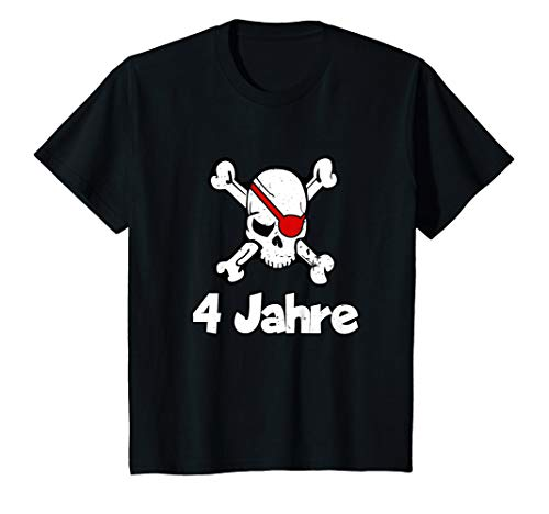 Kinder Geburtstagsshirt 4 Jahre Junge Totenkopf Pirat - Macht Ein Kind Das Piraten Kostüm