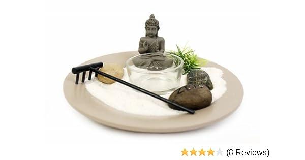 Buddha Zen Garden Tea Light Candle Holder On Plate Includes Battery-Op Candle