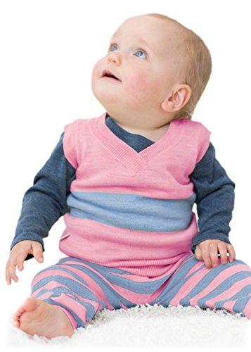 Merino Kids Gilet, Rosa/Azzurro, per neonati 3-6 mesi