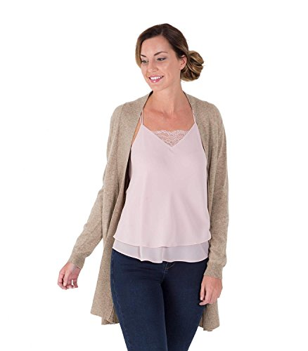 WoolOvers Gilet long ouvert - Femme - Cachemire & Mérinos Pepper