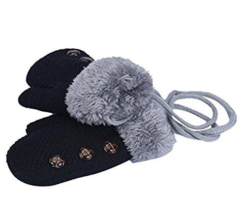 Monbedos niedliches dickes Kleinkind-Handschuhe, für den Winter, warm, mit Seilen, für Kinder von 3-6 Jahren