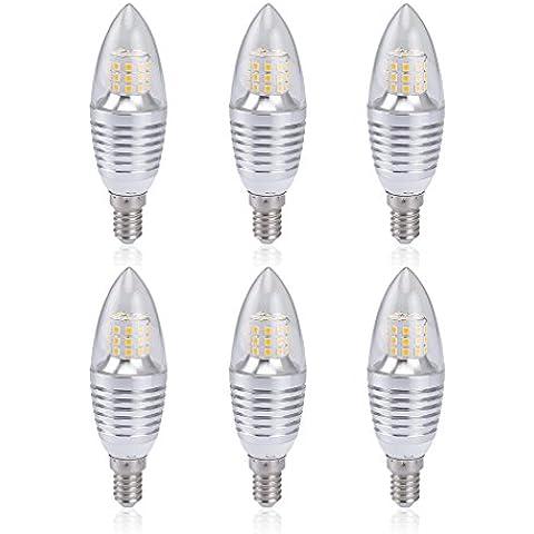 Auralum 6-Pezzi 7W E14 Sockel LED Kerzenleuchten Lampen, 3000K Bianco Caldo, 700 Lumens