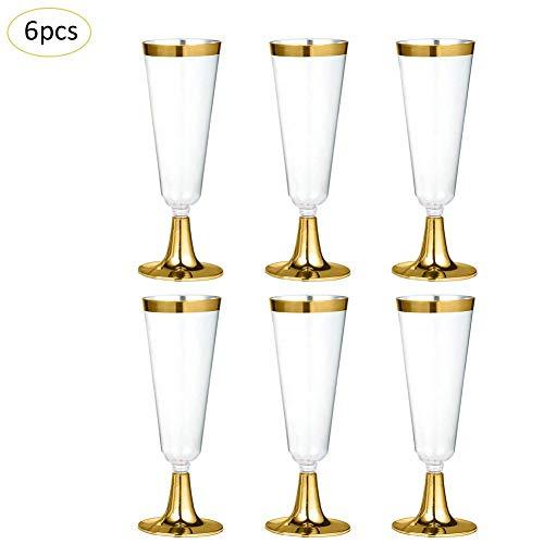 12 Plastik Einweg Sektgläser Einweggläser aus Kunststoff glasklar & transparent Sektkelche & Champagnergläser ideal für Weihnachtsfeiern Hochzeiten & Silvester 160ML,Gold
