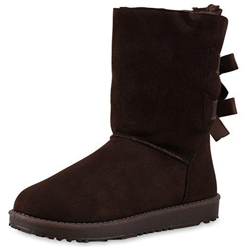 Warm Damen Schuhe Schlupfstiefel Schleifen Stiefel Bequem Dunkelbraun Braun 36