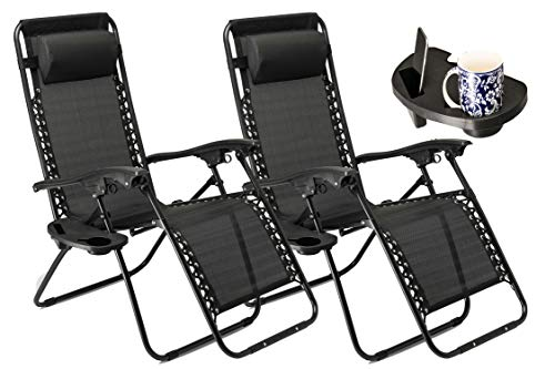 Liegestuhl-set (SUNMER Liegestuhl Klappbar 2er Set Belastbar, mit Becherhalter Kopfkissen, Gartenliege Camping, Sonnenliege Klappbar Strand - Schwarz)