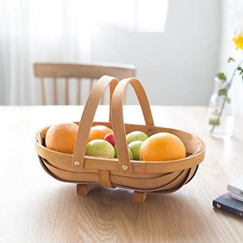 Ruier-hui Boot-förmigen handgewebten Holzkorb - Natural Wood Chip Woven Picknickkorb mit Griff, Blumenkorb Obst und Gemüse Ablagekörbe für handbemalte Möbel, Blumendekoration cute