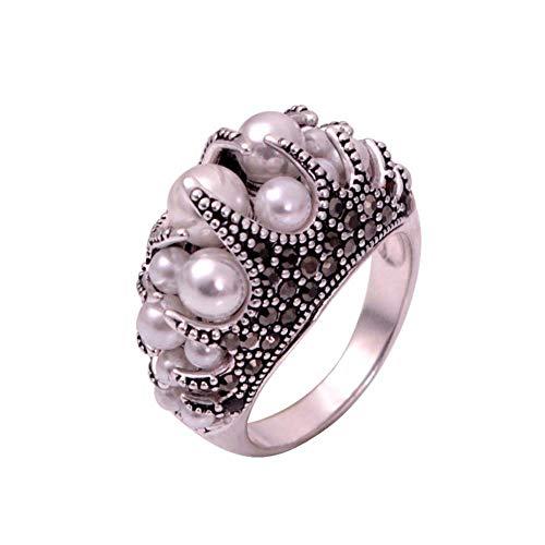 KFYU Größe 7-9 New Elegant Damen Vintage Simulated-Pearl Ring Schwarz Rhinestones Anel Platinum Plated Schwarz 8