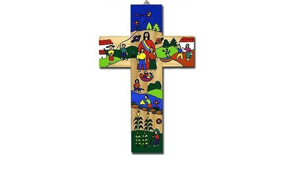 aus Holz handgemacht aus Lateinamerika Children of the World United Kreuz