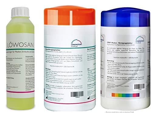 3er Set Löwosan CPAP Masken Maskenreiniger für Schlafmasken + Reinigungstücher neutral + Reinigungstücher Zitrusduft