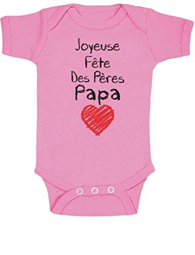 Green Turtle T-Shirts Joyeuse Fête des Pères, Papa adoré ! Body Bébé Manche Courte 12-18 Mois Rose