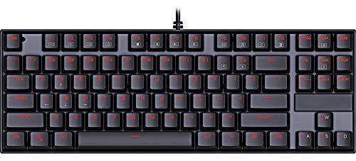 Mechanische Gaming Tastatur Hintergrundbeleuchtung USB Kabelgebunden 87 Tasten Plug and Play Ergonomische Multimedia Knopf Metall AusfÜHrung Tastatur Windows Schwarz -