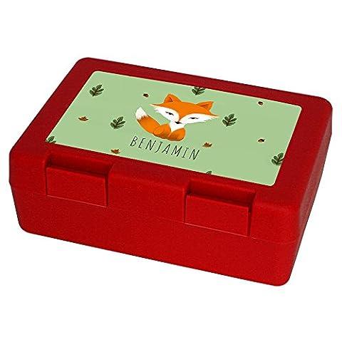 Brotdose mit Namen Benjamin und schönem Motiv mit Aquarell-Fuchs für Jungen - Brotbox - Vesperdose - Vesperbox - Brotzeitdose mit Vornamen