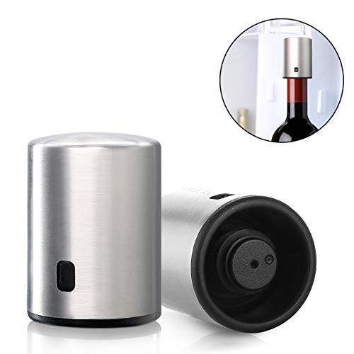 Janolia Smart Weinstopper, elektrischer Edelstahl-Vakuum-Memory-Flaschenverschluss mit Datumsskala, 7 Tage Erhaltungshöhe: 60 mm