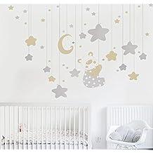 MYVINILO - Vinilo decorativo infantil - Happy dreams / plata, beige (100x100cm)