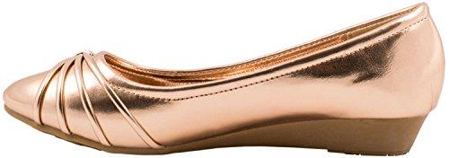 Elara Damen Pumps | Bequeme Keil Schuhe | Kleiner Keilabsatz Lederoptik Gold State