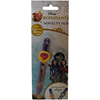 Disney Descendants Novelty Pen With 2 Decorative Clips, Different Colour Pen Tip to Choose from