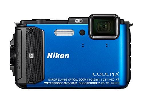 Nikon Coolpix AW130 Digitalkamera (16 Megapixel, 5-Fach Opt. Zoom, 7,6 cm (3 Zoll) OLED-Display, USB 2.0, bildstabilisiert) blau